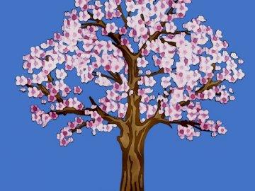wiśniowe drzewo - kwitnące drzewo wiśniowe. Zamknięty kwiat.
