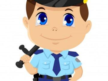 Monsieur le policier - Puzzles à résoudre pour les enfants de 3 à 4 ans. Professions. Un gros plan d'un jouet.