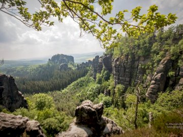 Häntzschelstiege-Sächsische Schweiz - National Park in Germany. A rocky mountain with trees in the background.