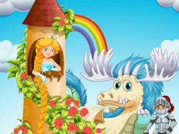 Princesse et chevalier - La princesse a été sauvée par un prince qui était ami avec un grand dragon.