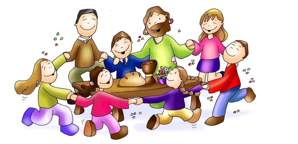 uitnodiging voor het feest - Eucharistie - Heilige Mis. Een tekening van een stripfiguur (6×6)