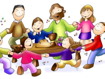 invito alla festa - Eucaristia - Santa Messa. Un disegno di un personaggio dei cartoni animati.