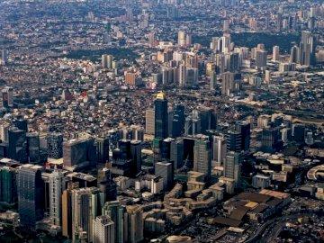 Taguig, budynki - Zdjęcie lotnicze miasta. Filipiny. Widok na miasto.