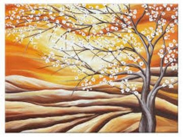 krajobraz z kwitnącym drzewem - Kwitnące drzewo obraz. Zamknięty drzewo.