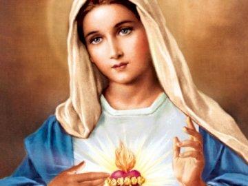 Puzzle Mary - Puzzle per bambini più piccoli, scuola materna, 3 anni, religione. Una persona che guarda la teleca