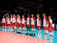 Polish national volleyball team - Polish national volleyball team. A group of people standing on a court.