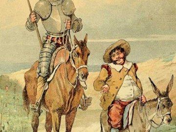 Don Kichot i Sancho Pansa - Układanka z Don Kichotem i Patelniami Sancho.