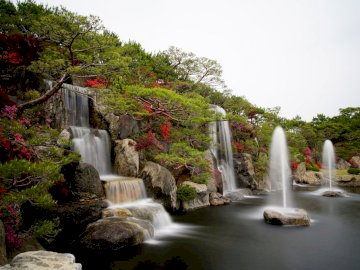 waterfalls and azaleas - --------------------------------------.