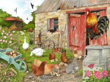 Country yard. - Puzzle: rural yard.