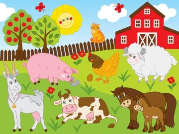 Puzzle farma - Puzzle farma wieś zwierzęta.