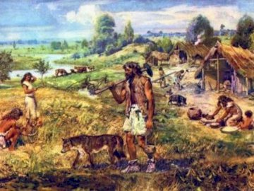 """Neolithic farmer's puzzle - This is people long ago they are """"Neolithic farmers'. A group of people in a field."""