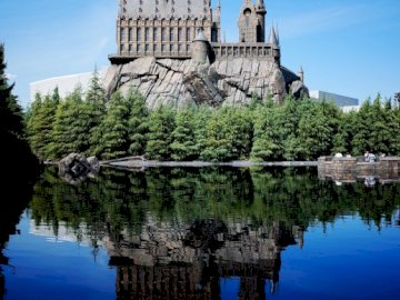 Castle puzzle - This is a castle puzzle. A castle surrounded by a body of water.