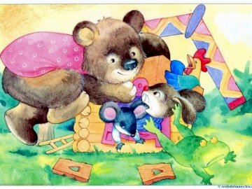 Dorita's house - Dorita's house children's story. A group of teddy bears sitting on top of a book.