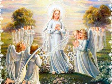 Maryja Królowa i Matka - Po ułożeniu puzzli zobaczycie obraz przedstawiający Maryję jako Królową Aniołów. Posąg osob
