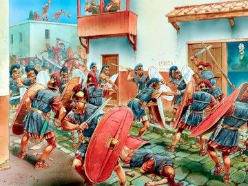 Gueras romanas - 75 aC Valencia, legionarios de Pompeyo contra Quinto Sertorio - Peter Dennis. A group of people stan