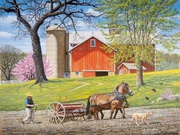 Spring in the countryside. - Landscape puzzle: spring in the countryside. A person riding a horse drawn carriage.