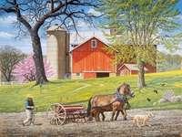 Jaro v přírodě. - Krajina puzzle: jaro v přírodě. Osoba na koni tažený kočár.