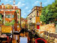 Painted Venice. - Puzzle: painted Venice. A river running through a city.