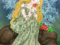 Persephone - Persephone met granaatappel en bloemen.