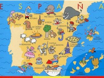 Spagna, mappa per bambini - I puzzle mostrano la mappa della Spagna. Una stretta di una mappa.