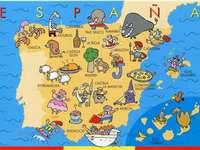 Španělsko, mapa pro děti - Hádanky ukazují mapu Španělska. A zblízka mapy.