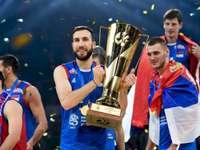 Serbia's volleyball team - Serbia's volleyball team. Nemanja Petrić, Srećko Lisinac posing for the camera.