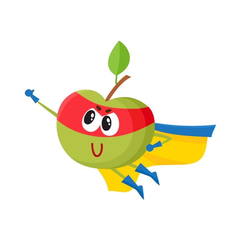 nebojácné jablko - nebojácný usmívající se jablko. Kresba kreslené postavičky (5×3)