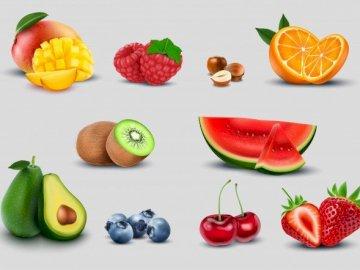 vitaminas solo - mismas vitaminas para caras sonrientes. Un tazón de frutas sobre una mesa.