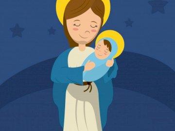 virgen Maria fondo azul - puzzle sencillo para niños religión virgen maria.
