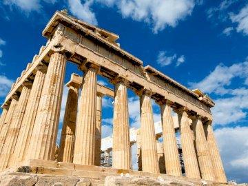 Grecja Ateny - Spróbuj ułożyć puzzle przedstawiające zabytkowe budowle z czasów starożytnej Grecji. Widok ka