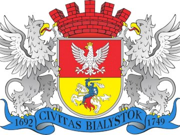 Coat of arms of Bialystok - Coat of arms of stately Białystok. A close up of text on a white background.
