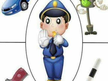 Monsieur le policier - Puzzle - une photo d'un policier et de ses attributs.