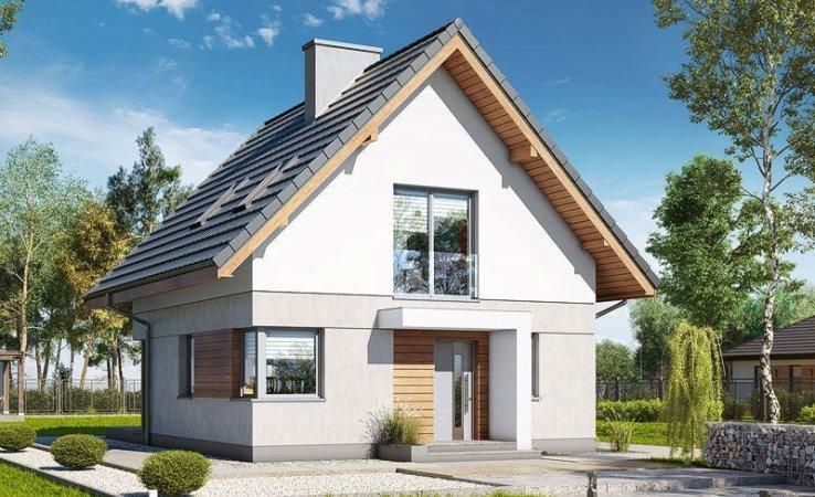 maison individuelle - maison individuelle dans le paysage. Une petite tour de l'horloge devant une maison (5×5)