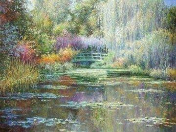 Malarstwo Monet Pond - Malarstwo stawowe Moneta. Zamknięty staw.