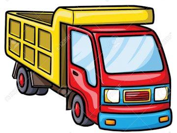 LORRYCAMION - To ciężarówka z zabawkami, która jest czerwono-żółta. Zrzut ekranu z gry wideo.
