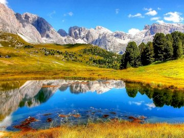 Lake In The Mountains - A Lake Surrounded By Mountains And Forest. A pond with a mountain in the background.