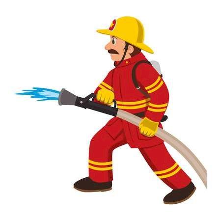 Strażak - Strażak. Ułóż strażaka z elementów. A bliska zabawki. Ułóż puzzle, tak aby powstał rysunek. A bliska zabawki (4×4)
