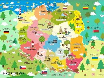 Carte de la Pologne - Puzzles pour enfants, une carte simple de la Pologne. Un gros plan d'une carte.