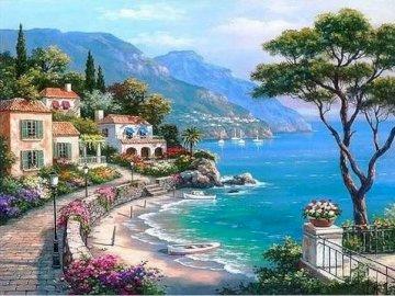 Vistas al mar azul - Vistas al mar azul para relajarse. A resort near the water with Amalfi Coast in the background.