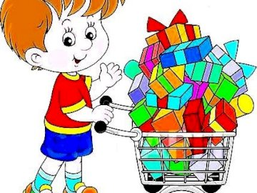 PURCHASE DAY - PLACE THE PICTURE AND SEE WHAT LARGE SHOPPING MEANS. A drawing of a cartoon character.
