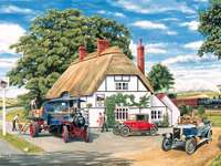 Stazione ferroviaria in campagna. - Puzzle: una stazione ferroviaria rurale. Un piccolo camion parcheggiato sul lato di una strada.