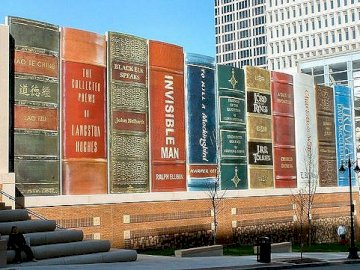 The most beautiful libraries in the world - 2) Public library in Kansas City, USA. A bench in front of a building.