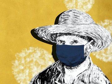 Vincent Van Gogh in einer Maske - Kunst, Vincent Van Gogh. Eine Person, die einen Hut trägt.