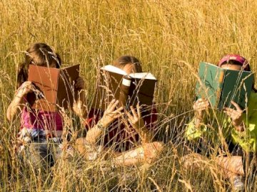 Reading in nature - reading children in the meadow. A little girl that is standing in the grass.