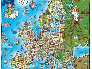 Europe - Children's puzzles - Children's puzzles related to European Union Day. A close up of puzzle pieces.