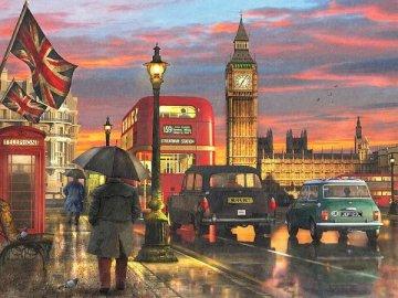 Londyński krajobraz. - Układanka: londyński krajobraz. Grupa ludzi chodzących w deszczu, trzymając parasol.