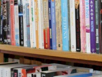Biblioteka - Z bibliotecznej półki. Półka na książki wypełniona książkami.
