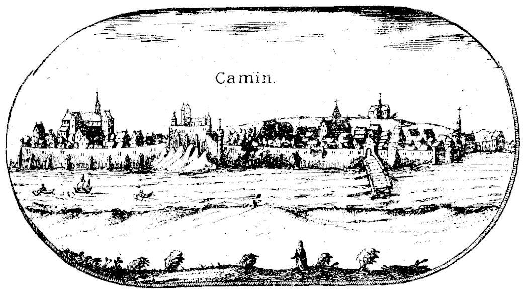 Panorama Kamienia Pomorskiego z 1618 r - Cammin_Lubinus. Rycina miasta Kamień Pomorski, będąca fragmentem Wielkiej Mapy Księstwa Pomorskiego z 1618 roku, autorstwa Eilhardusa Lubinusa, niemieckiego kartografa, który wykonał ów mapę n (12×7)