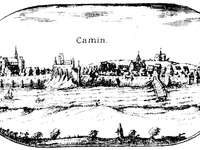 Panorama of the Pomeranian Stone from 1618. - Cammin_Lubinus. A print by the city of Kamień Pomorski, which is a fragment of the Great Map of the