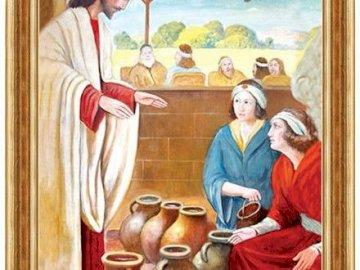 Kana Galileean primer milagro - Un milagro en Caná de Galilea. La actitud de la Madre de Dios que sirve a los demás. Un hombre y u